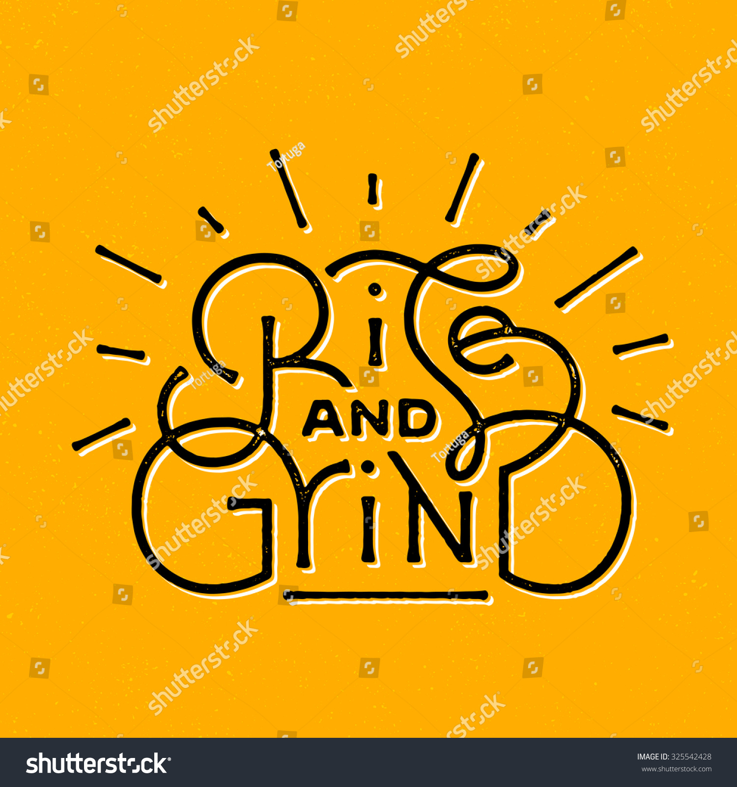 Rise Grind Motivational Textured Vintage Hand Stock Vector (Royalty ...