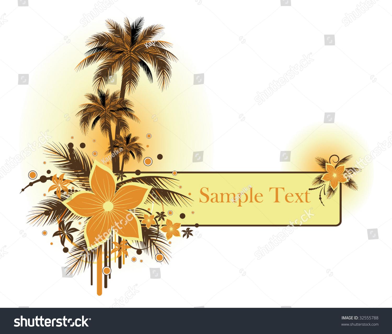 Palms And Flower Banner Stock Vector Illustration 32555788