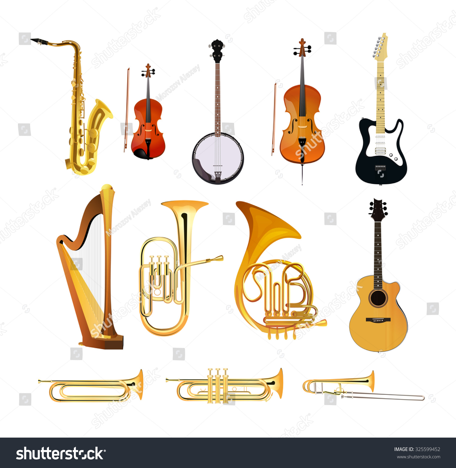 Orchestra Musical Instruments Isolated On White Stock Vector ...