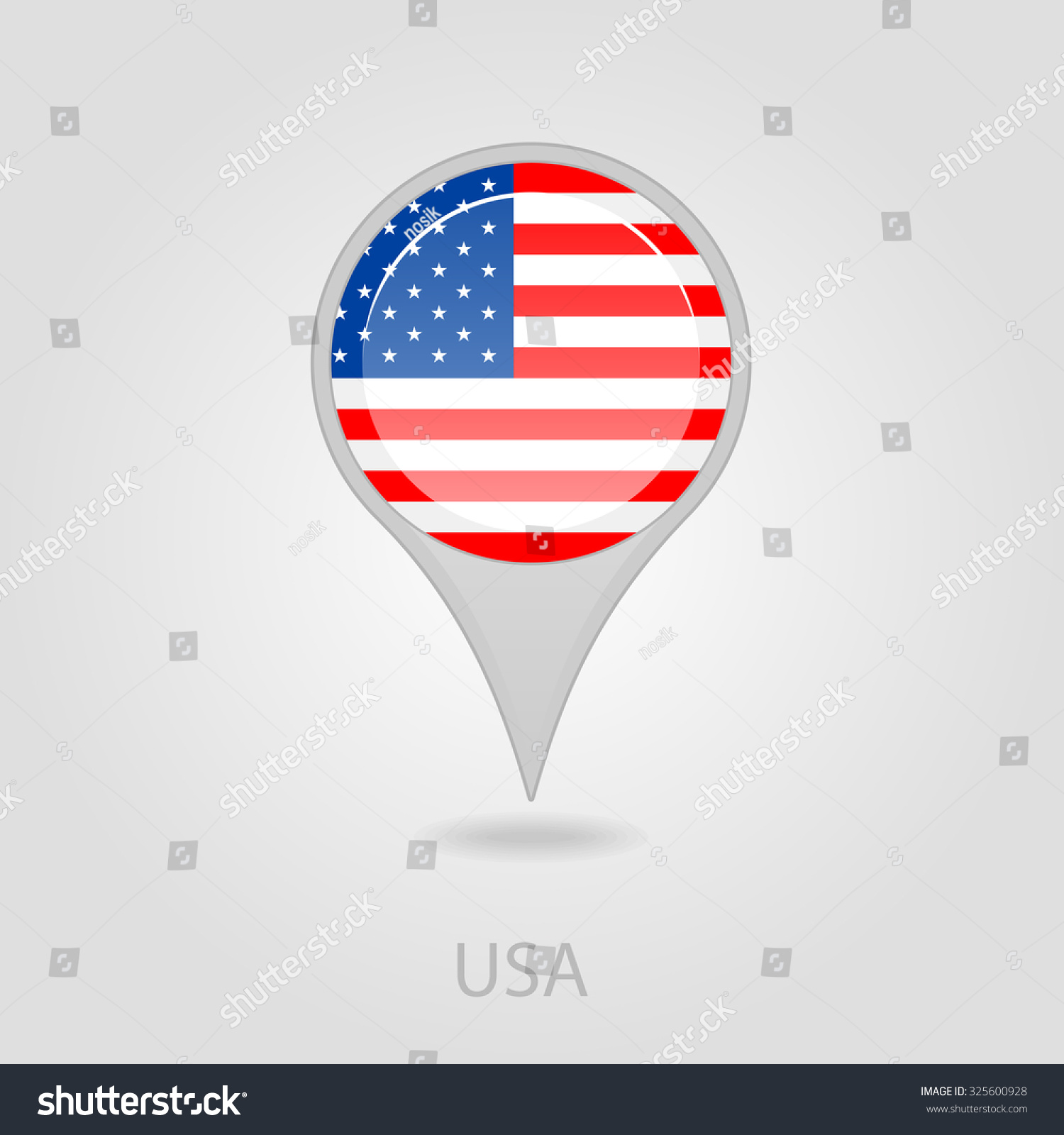 United States Of America Flag Pin Map Icon Eps 10