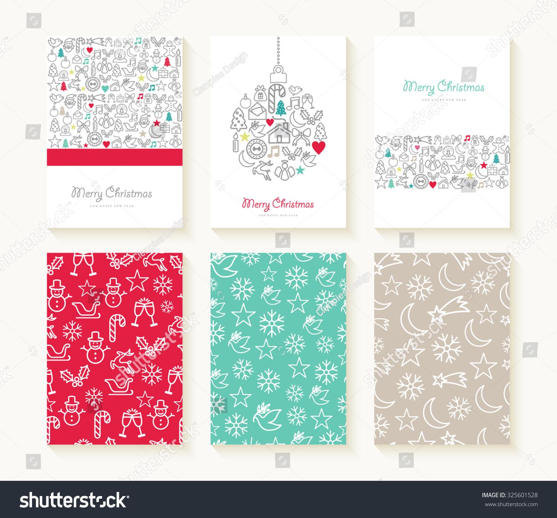 merry christmas set line icon seamless stock illustration