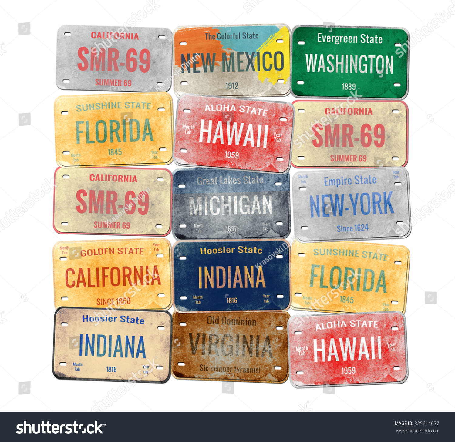 Old Car Plates Old License Plate Stock Illustration 325614677 ...