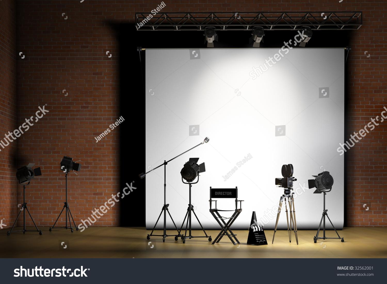movie set inside a sound stage with movie lights movie