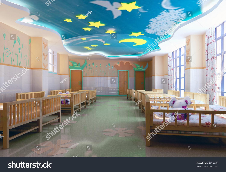 Kindergarten interior design image in 3d - Modern Kindergarten Bedroom 3d Render