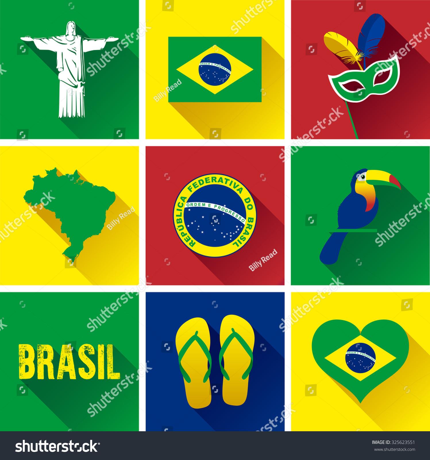 brazil flat icon set vector graphic stock vector 325623551