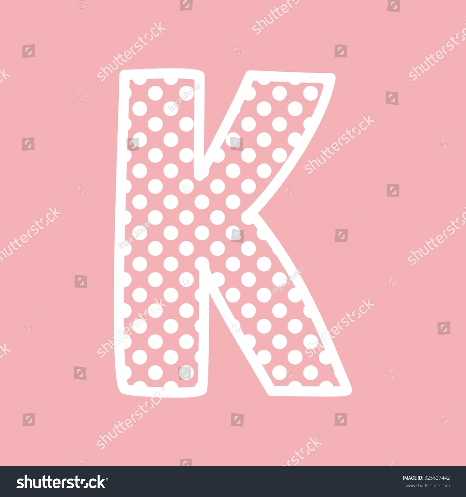 K alphabet letter with white polka dots on pink background | EZ Canvas