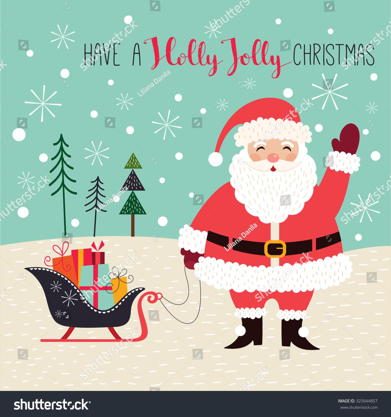 Christmas Card Santa Greeting Card Santa Stock-Vektorgrafik ...