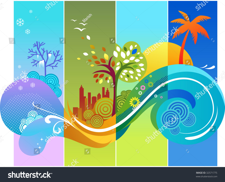 template design calendar four season stock vector 32571775