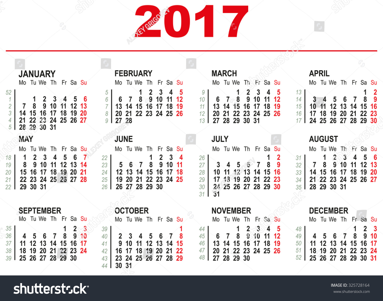2017 Calendar template. Horizontal weeks. First day Monday ...