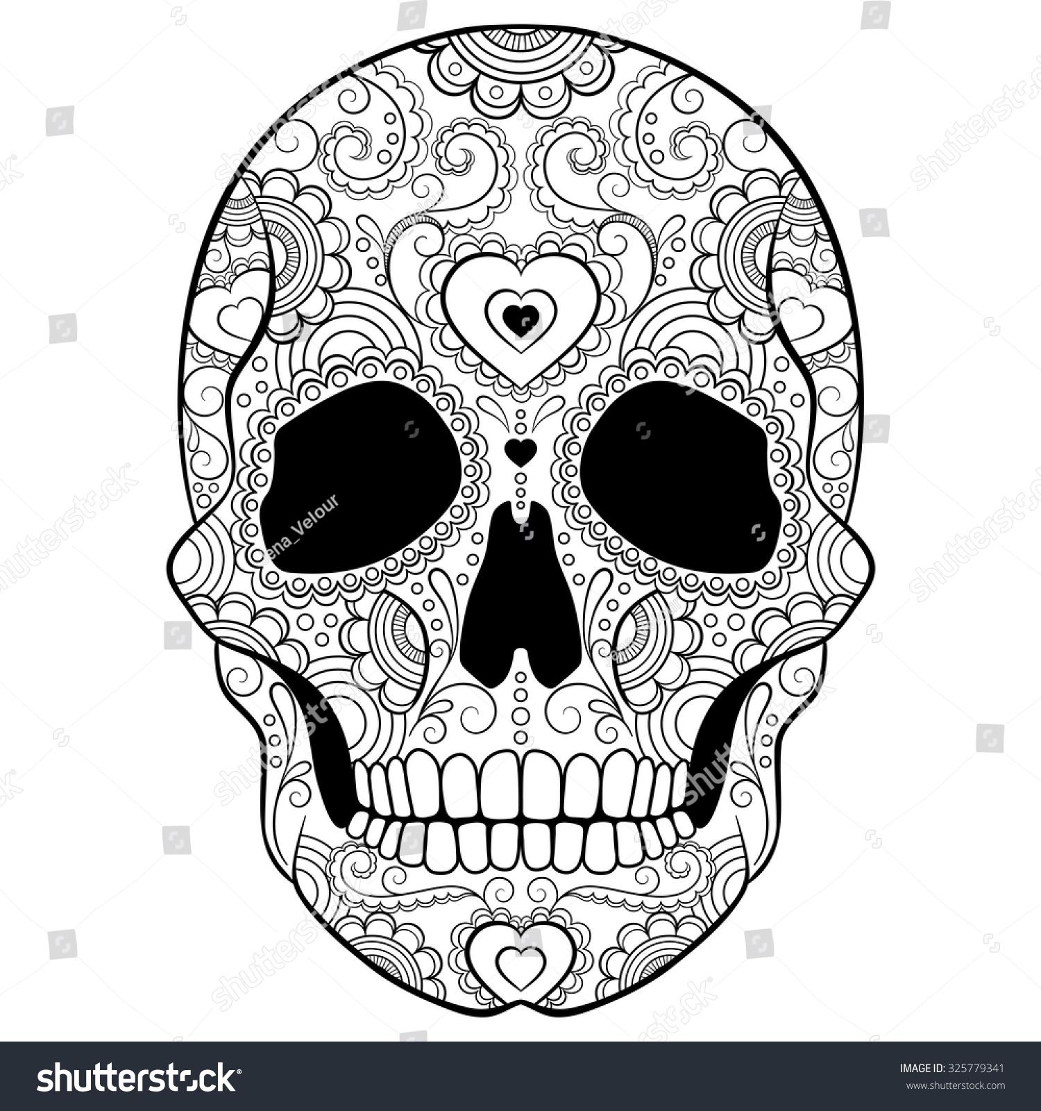 Day Dead Sugar Skull Heart Doodles Stock Vector 325779341