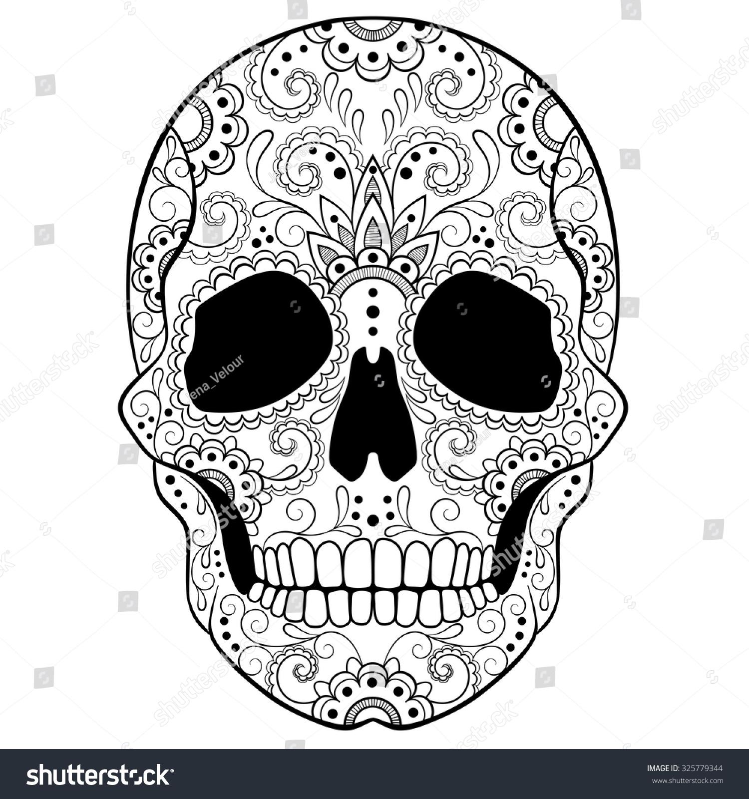 day dead sugar skull doodle ornament stock vector