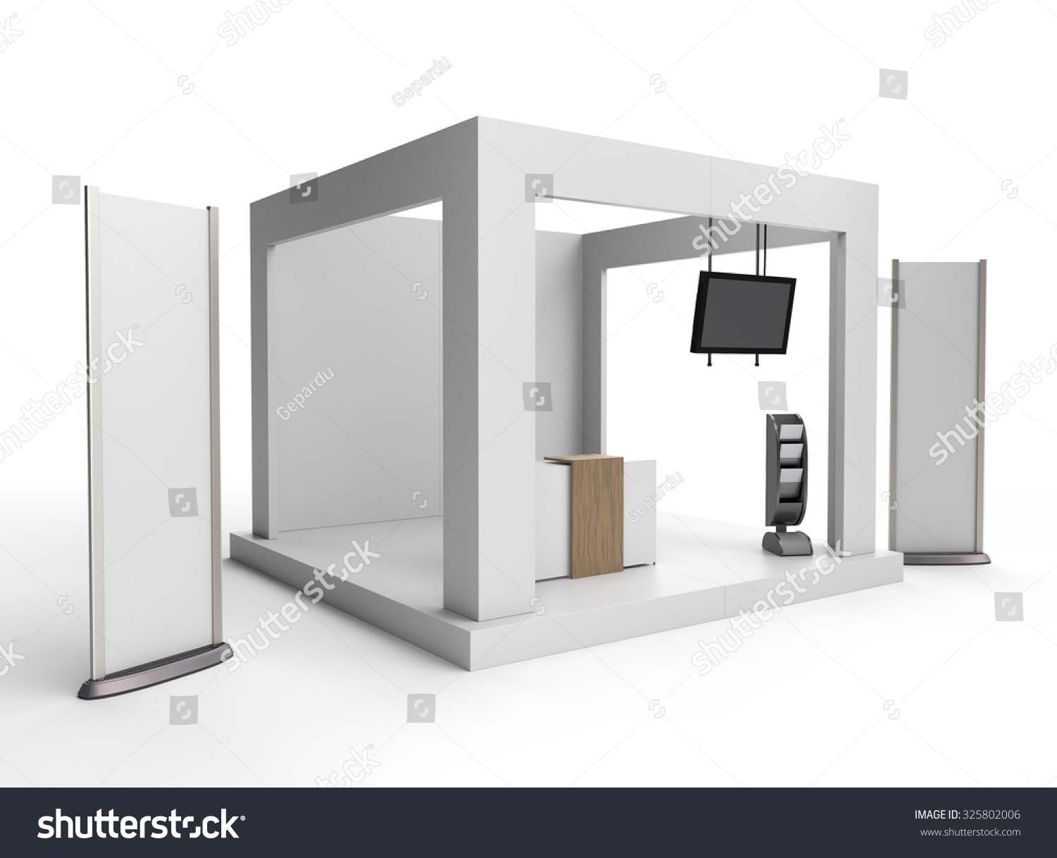 Exhibition Stand Tv : Blank stand design in exhibition or trade fair with tv