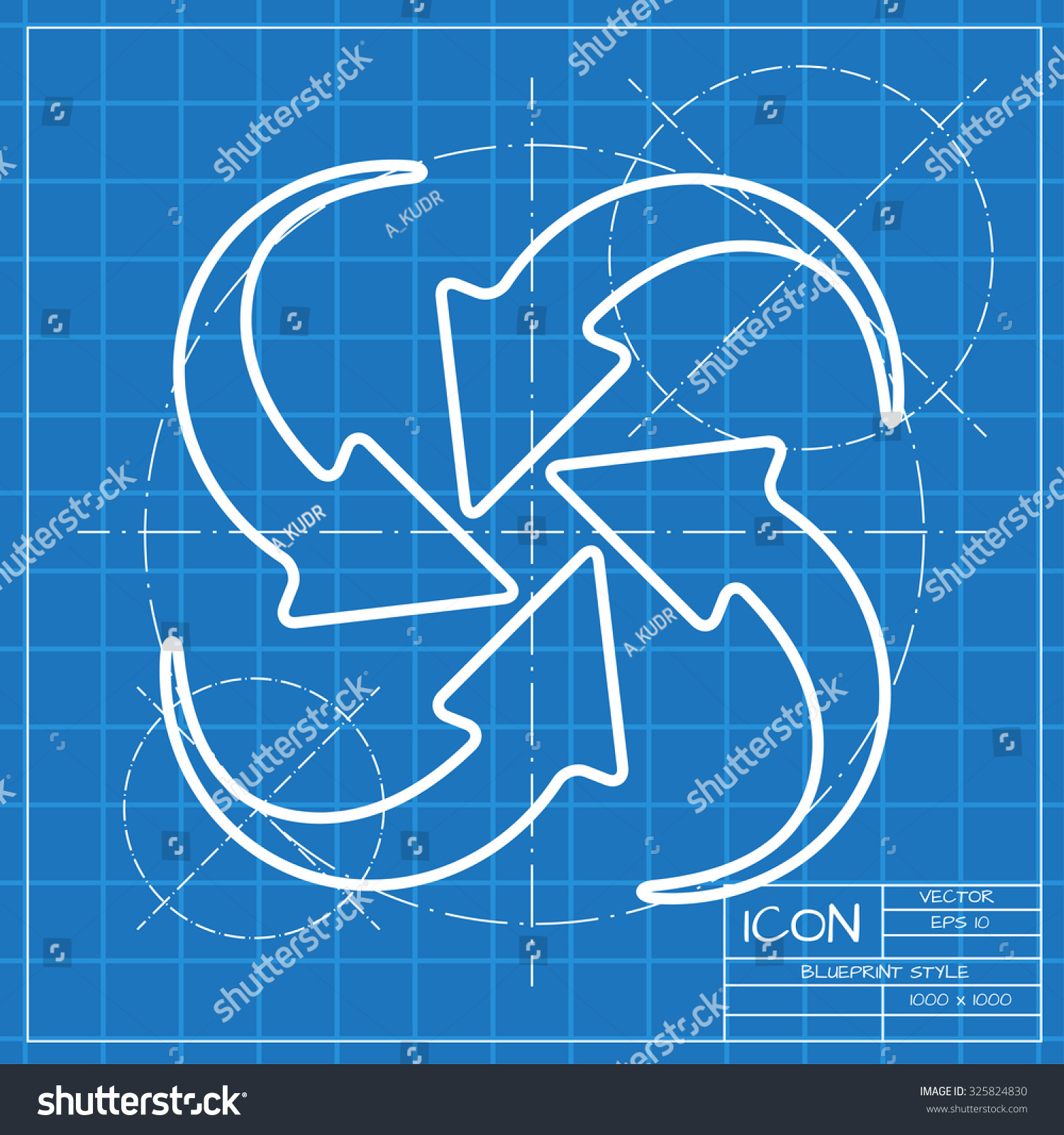 Vector classic blueprint circle round arrows stock vector vector classic blueprint of circle round arrows for business diagram on engineer and architect background malvernweather Image collections