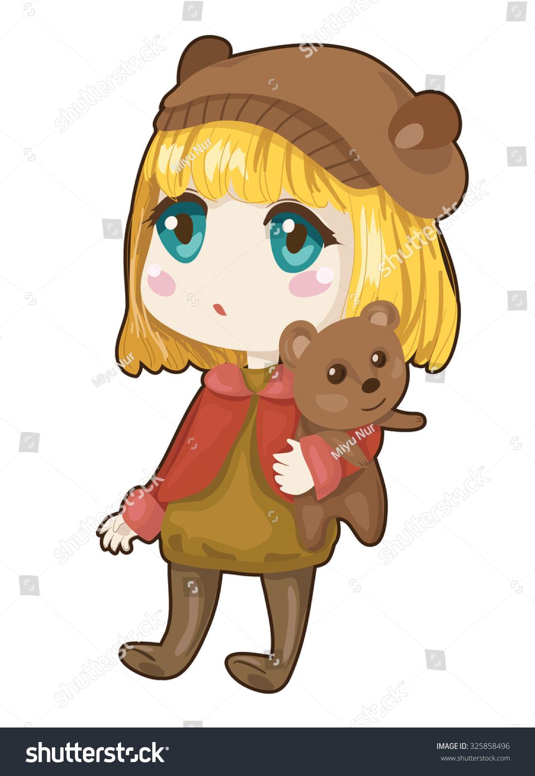 Little anime girl with her teddy bear