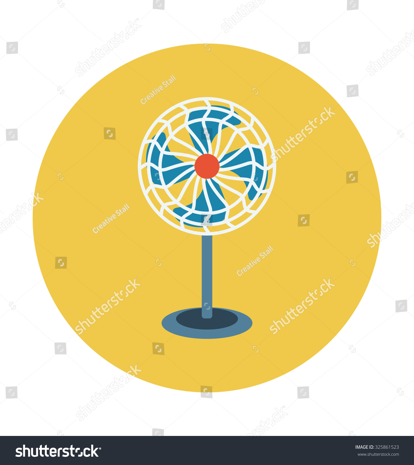 Pedestal Fan Colored Vector Illustration Stock Royalty Free Wiring Diagram