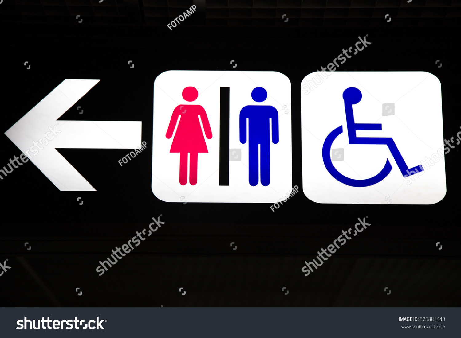 Restroom Male Female And Cripple Public Sing Bathroom Signs Sign Toilet Men Women With An Arrow Showing Direction Stock Photo