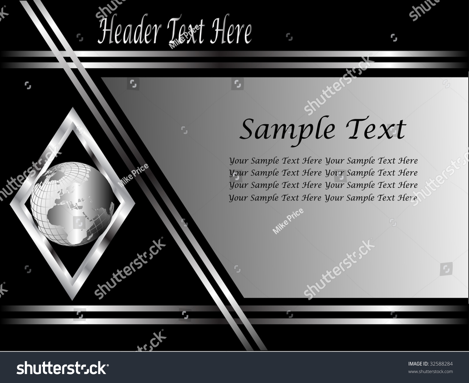 Black Silver Business Card Background Template Stock Vector ...