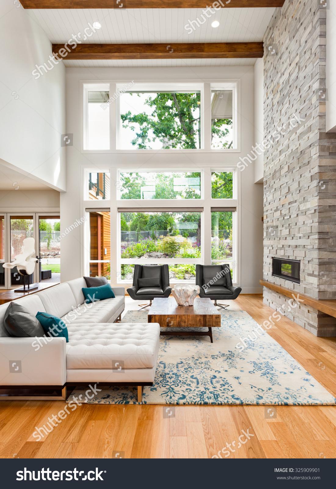 Beautiful Drawing Room: Beautiful Living Room Interior Hardwood Floors Stock Photo