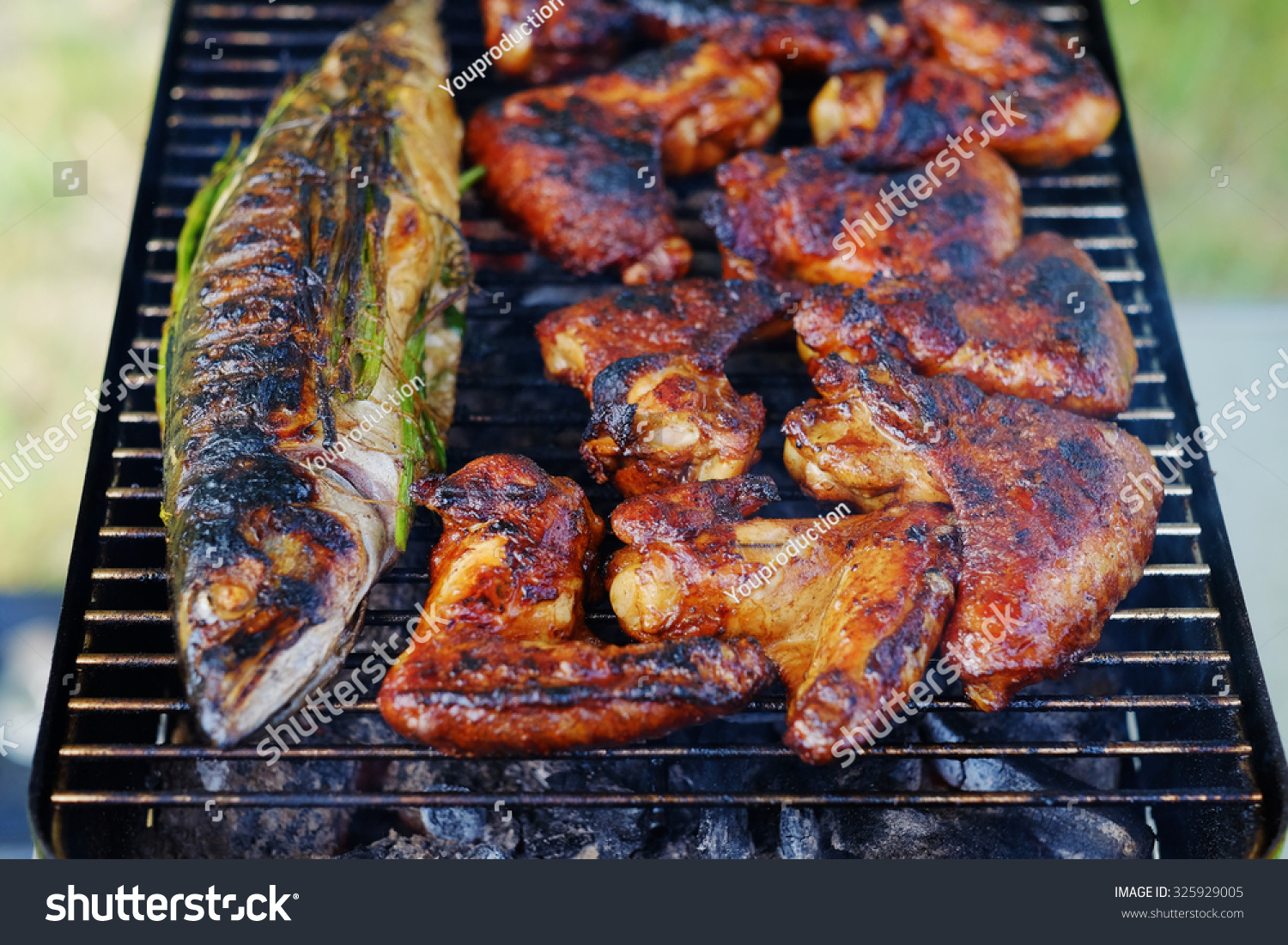 Grilled fish and chicken wings on campfire food preparing for Fish and wings