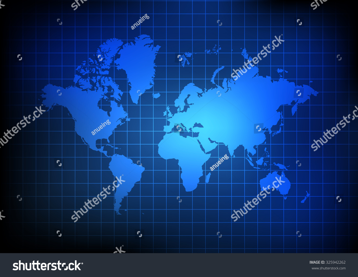 Vector world map grid on blue vector de stock325942262 shutterstock gumiabroncs Image collections