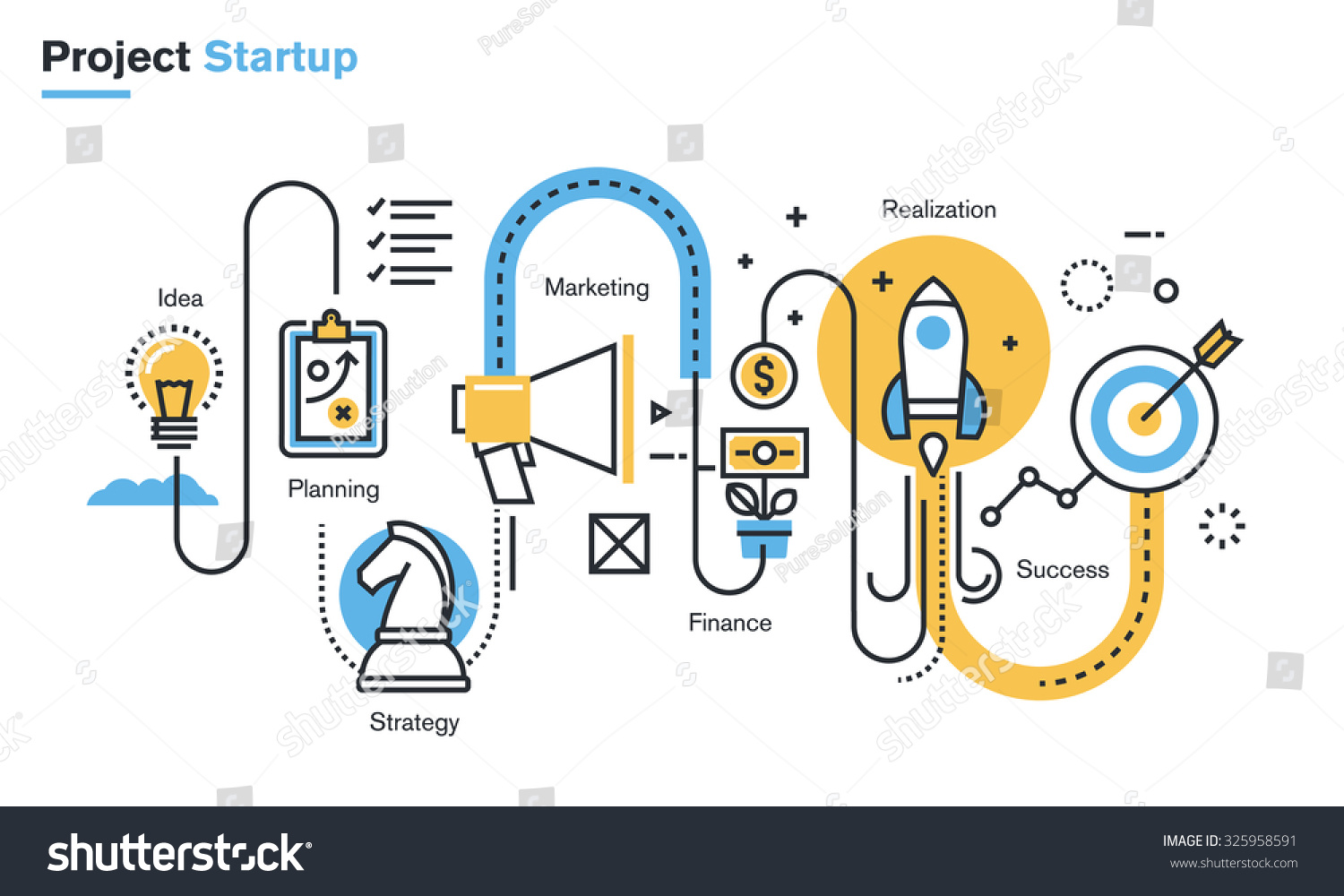 flat line illustration business project startup stock vector