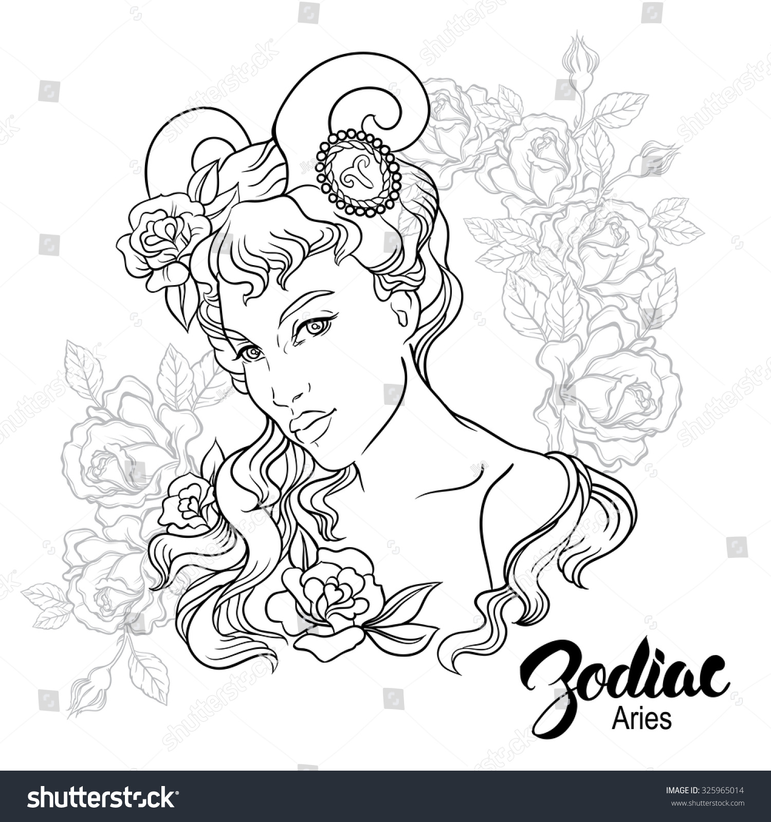 Zodiac vector illustration aries girl flowers stock vector for Flowers for aries woman