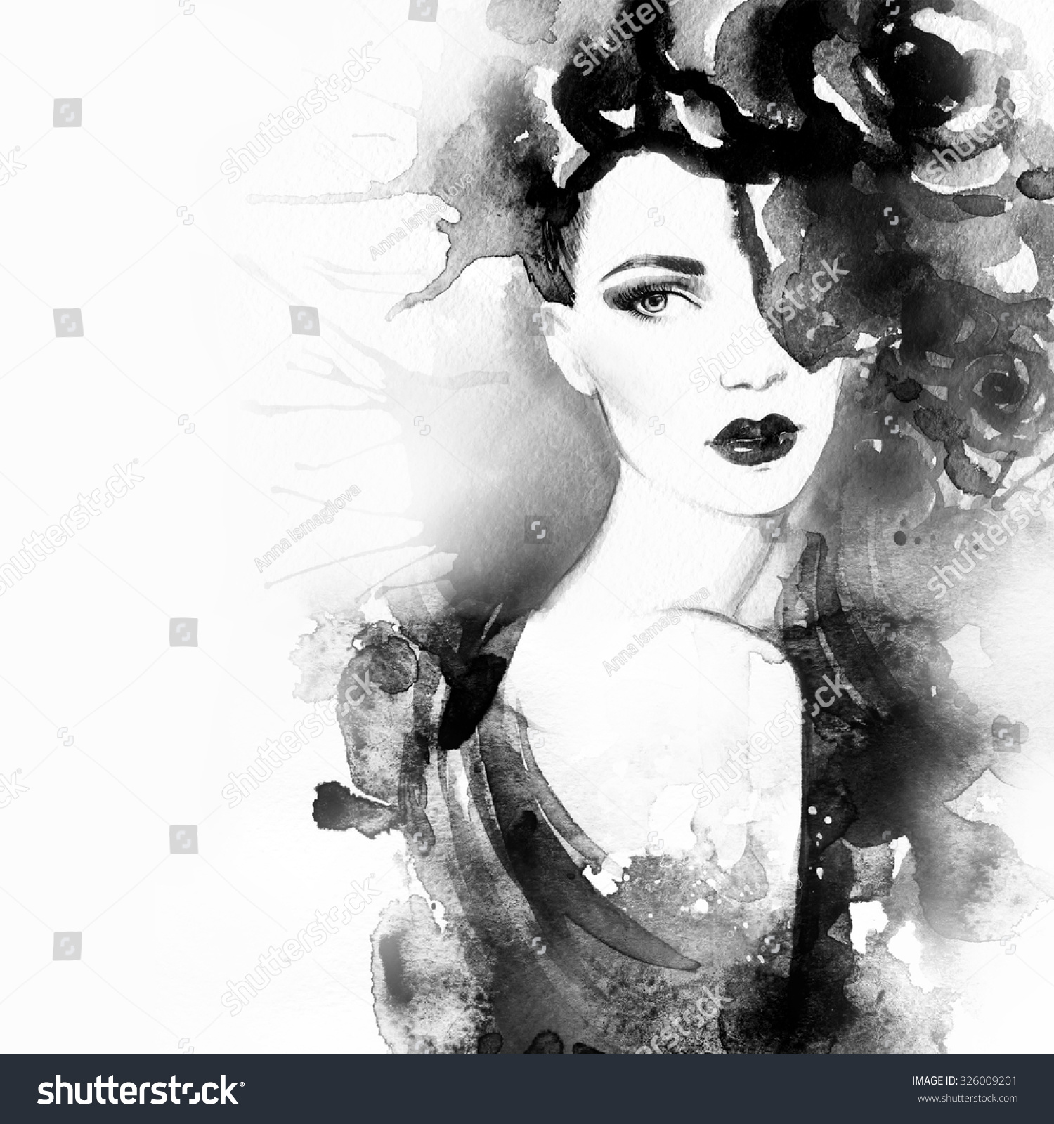 Woman Portrait Beautiful Face Abstract Watercolor Stock