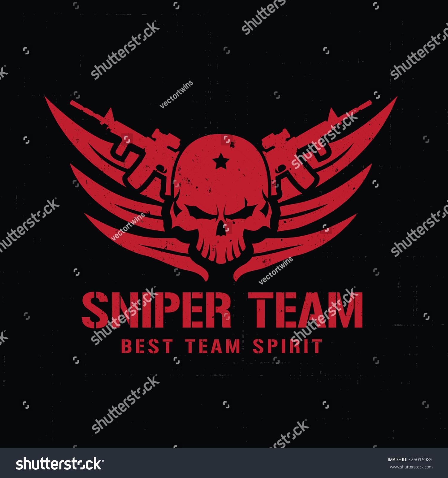 Sniper Team Logoskull Logorockgamegamerwing Logovector Logo Stock ...