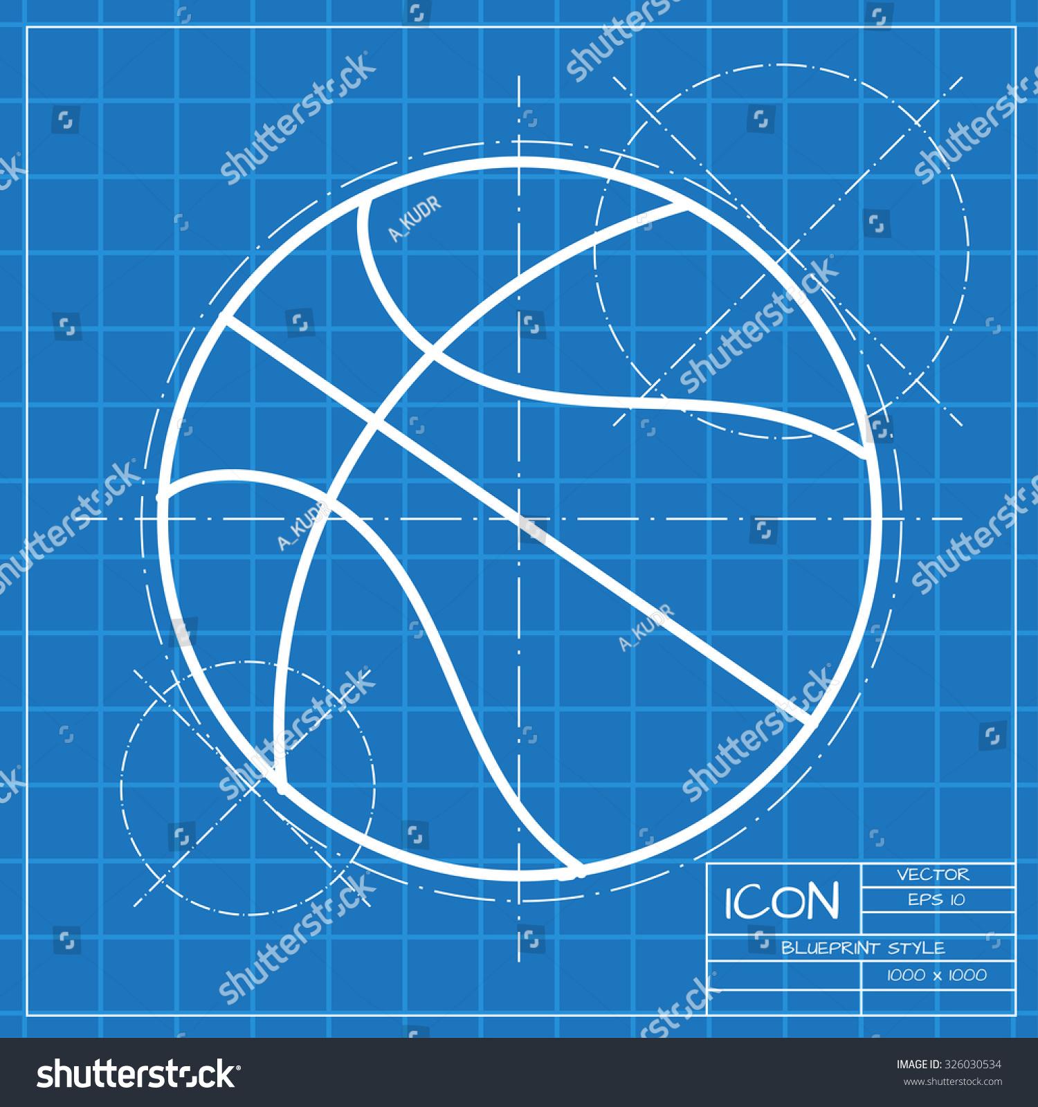 Vector classic blueprint basketball icon on stock vector 2018 vector classic blueprint of basketball icon on engineer and architect background malvernweather Choice Image