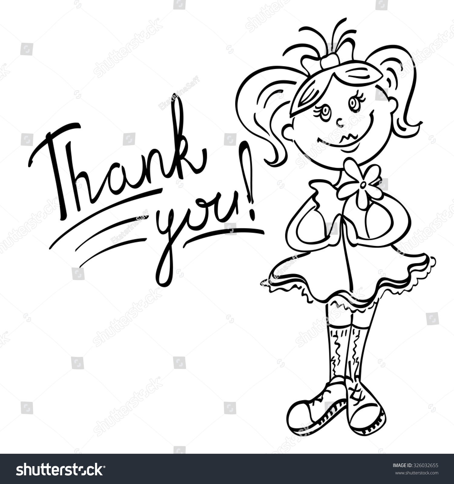 drawing girl flower says thank you stock vector royalty free