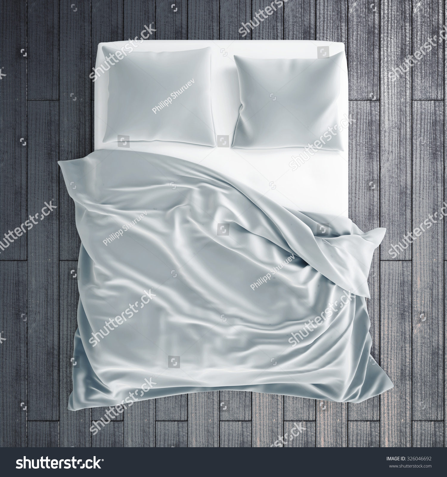 3d illustration of bed in the bedroom view from the top bed