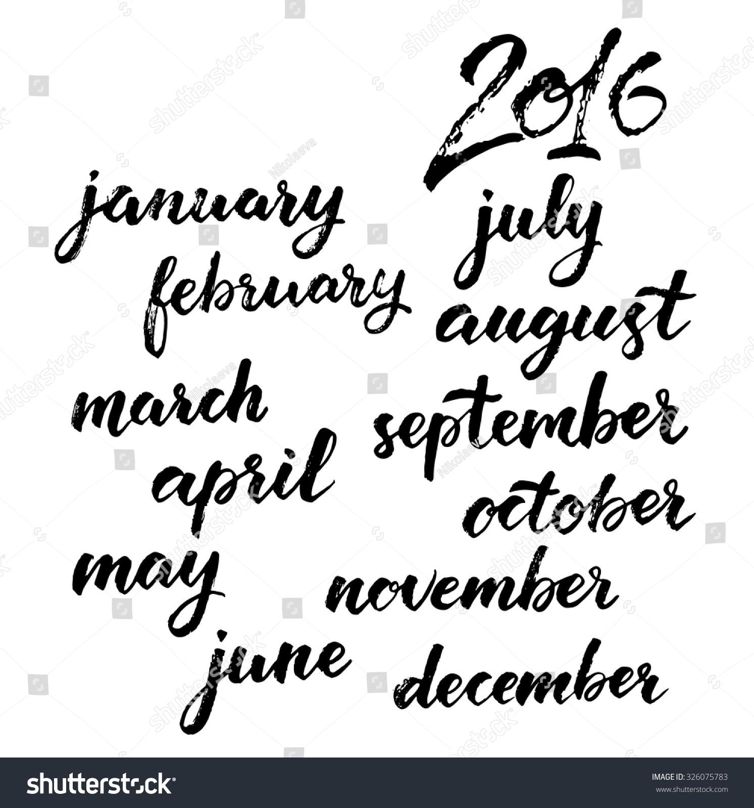 Months year set calendar brush stock vector