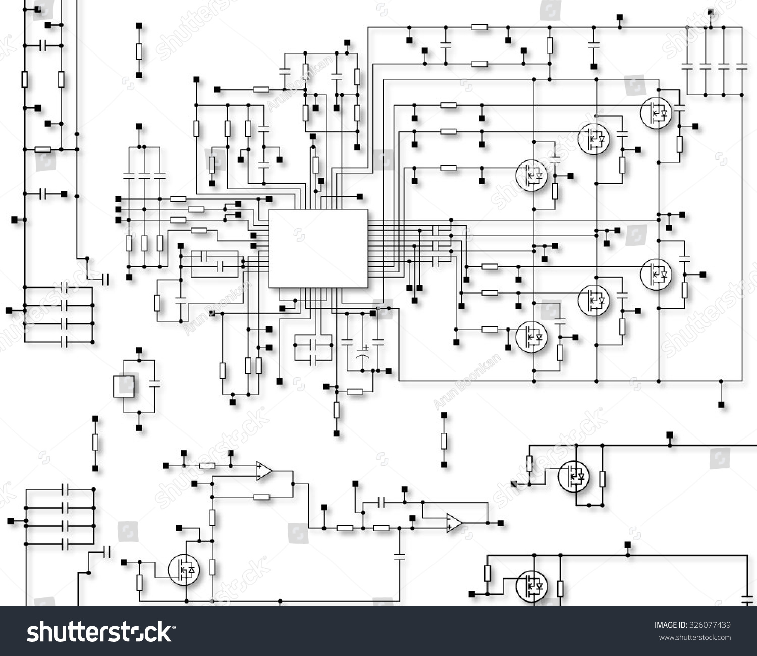 Schematic Diagram Project Electronic Circuit Graphic Stock Vector Projects Schematics Of