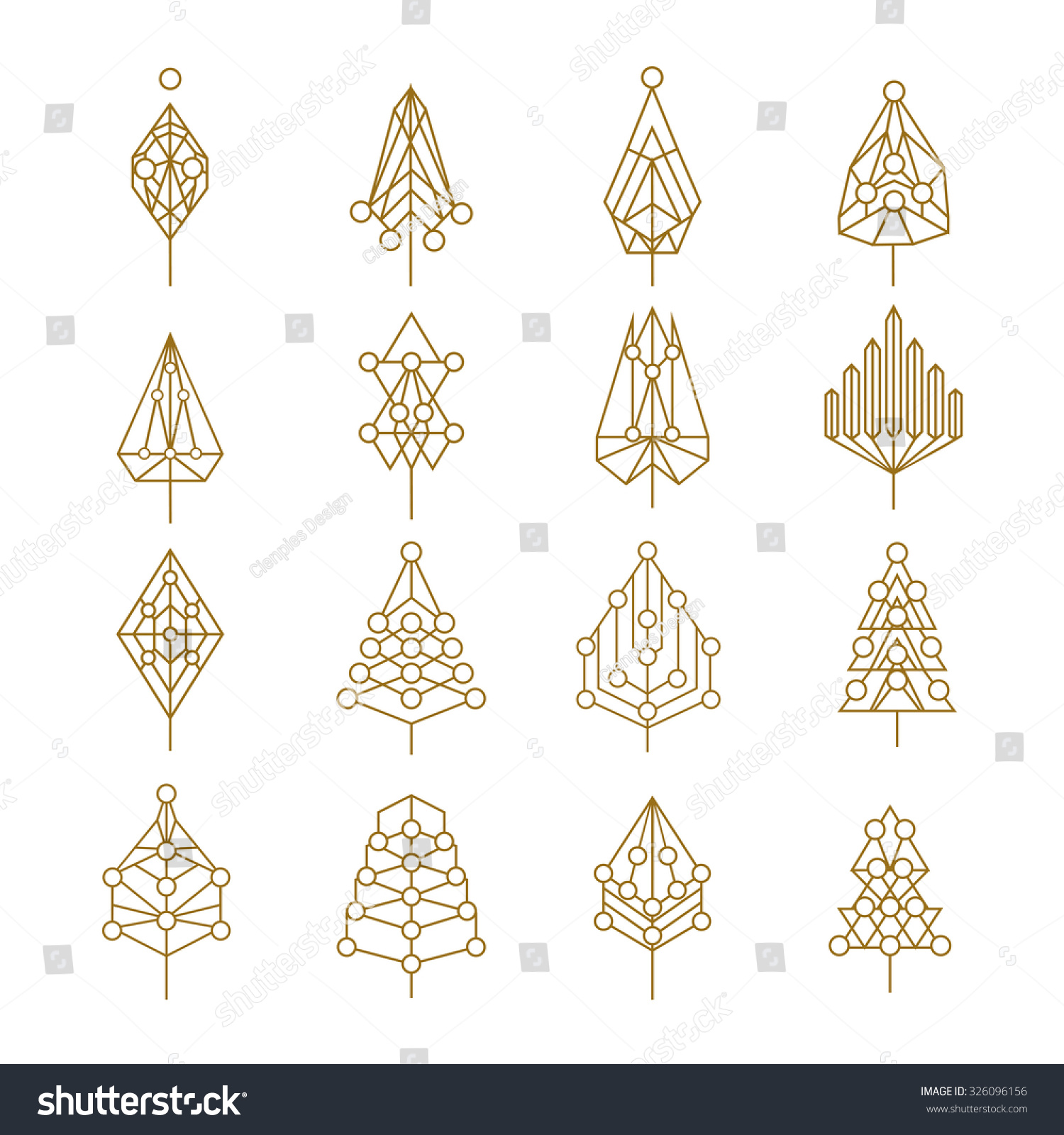 Design your own christmas ornaments - Set Of Abstract Outline Style Christmas Pine Trees With Geometric Holiday Ornaments Ideal For Creating