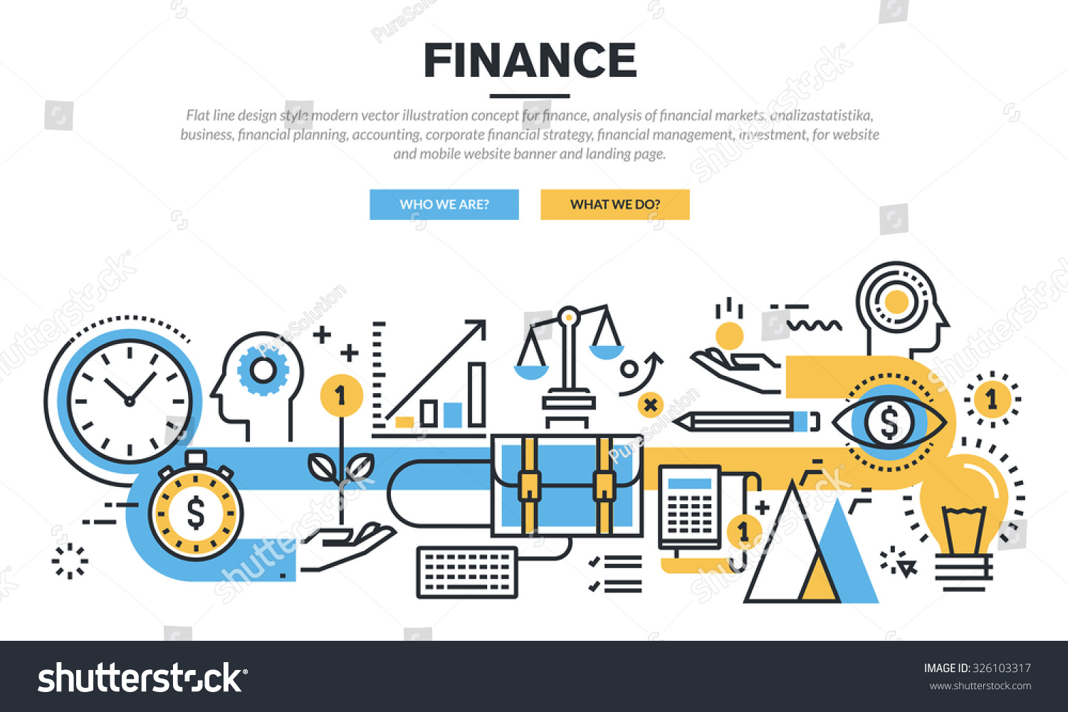 Flat line design concept finance market stock vector for Concept design and planning