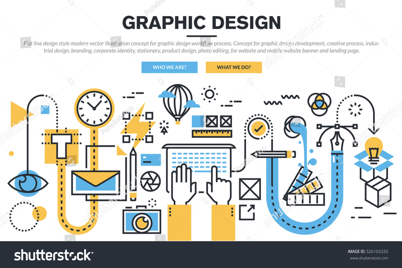 Flat line design concept graphic design stock vector for Product design website