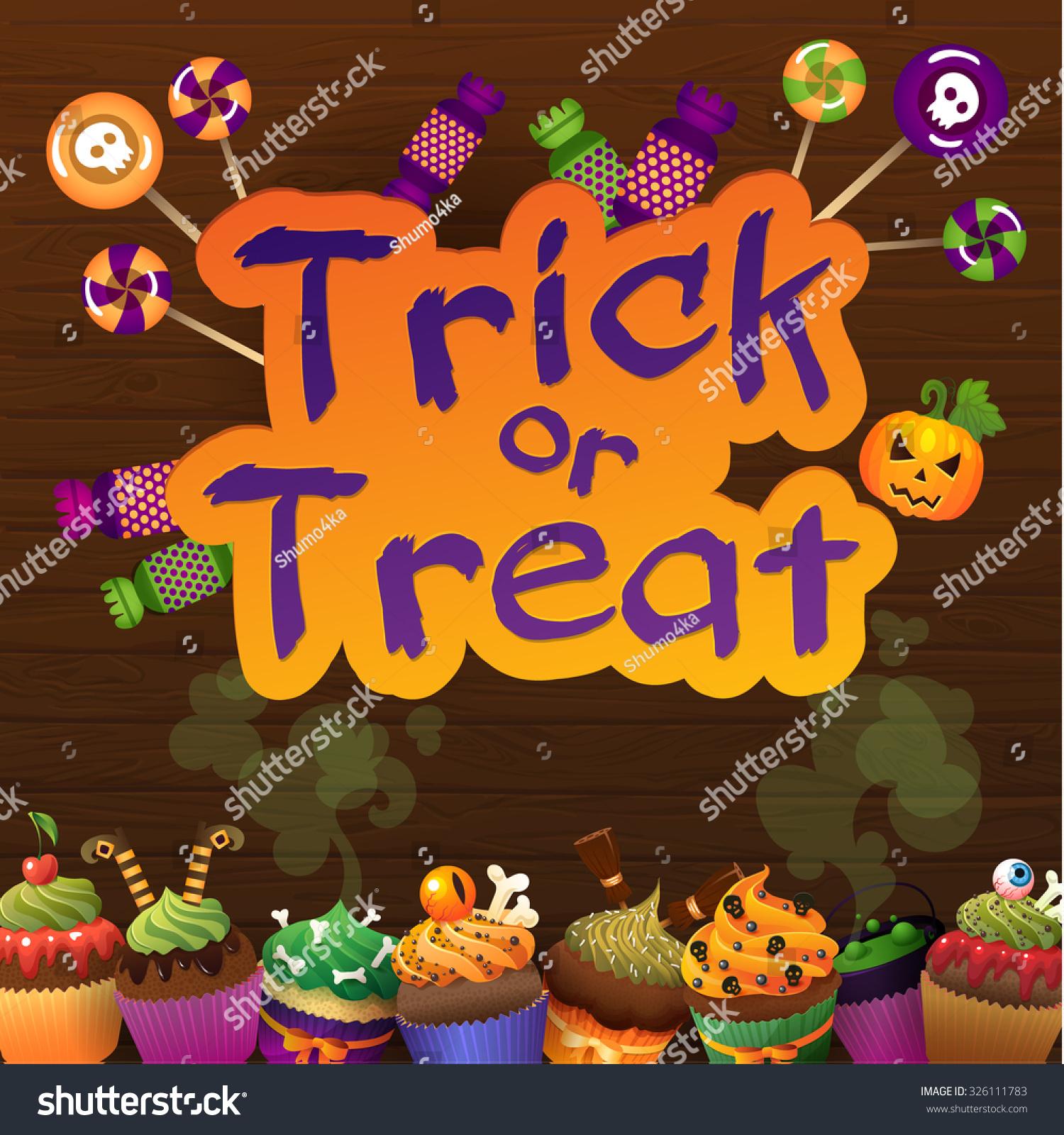 Happy Halloween Trick Treat Greeting Card Stock Vector