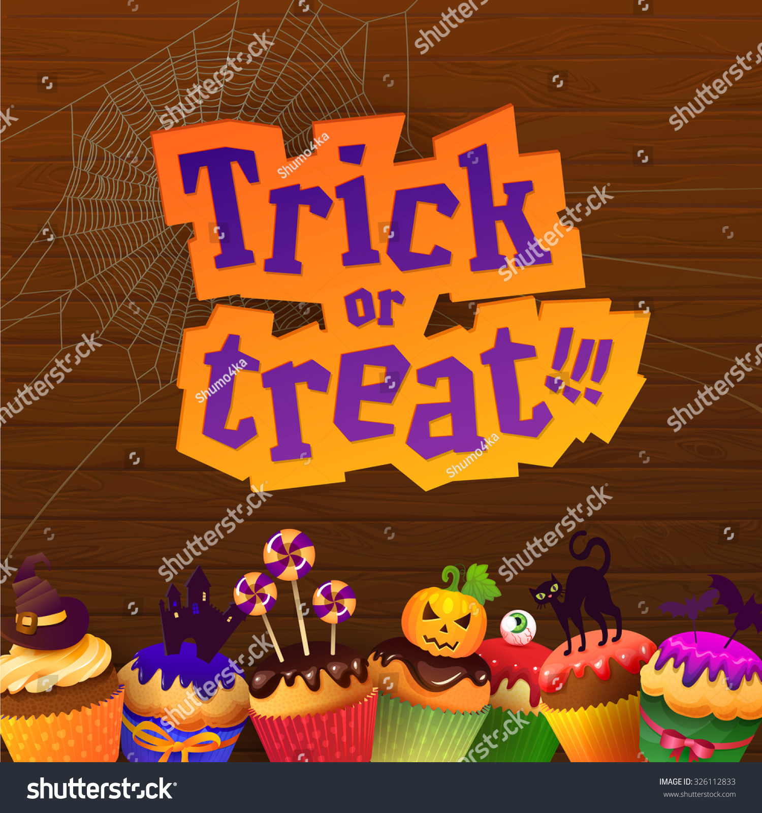 Happy Halloween Cupcakes Greeting Card Trick Stock Vector
