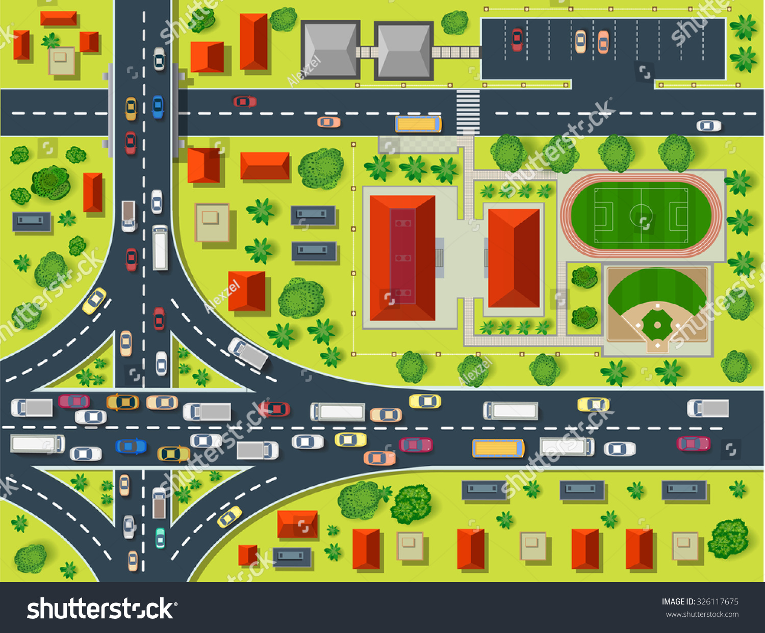 Map Top View Rooftops City Streets Stock Vektor 326117675
