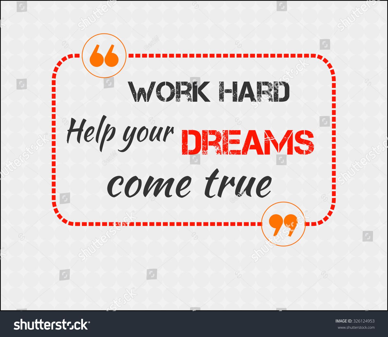work hard help your dreams e stock vector shutterstock