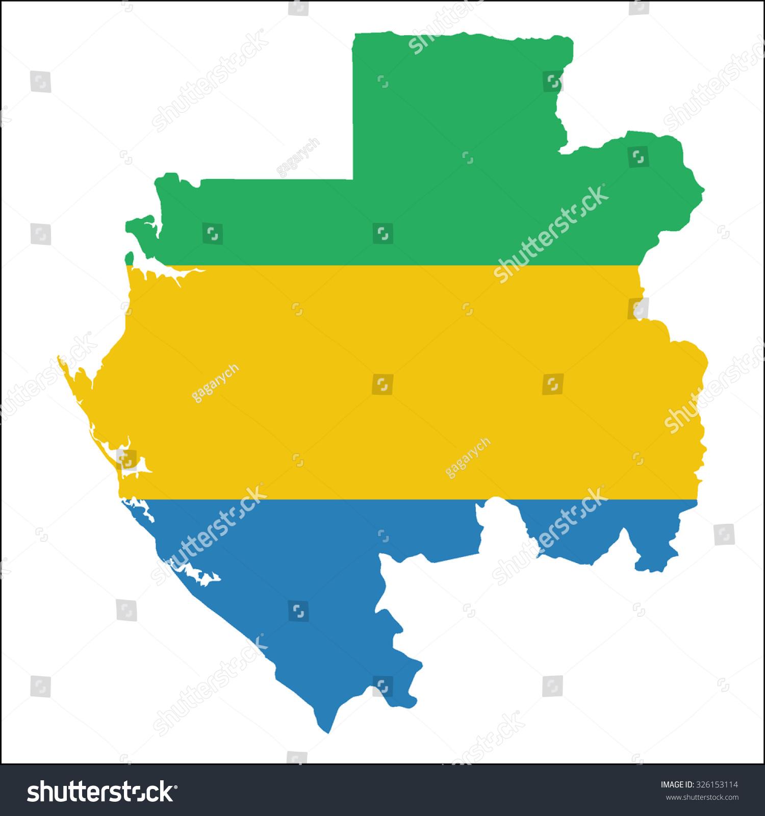 High Resolution Gabon Map Country Flag Stock Vector - Gabon map