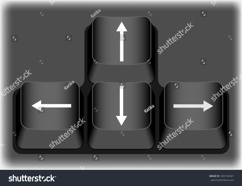 Keyboard Arrow Keys Black Buttons Stock Vector Royalty Free