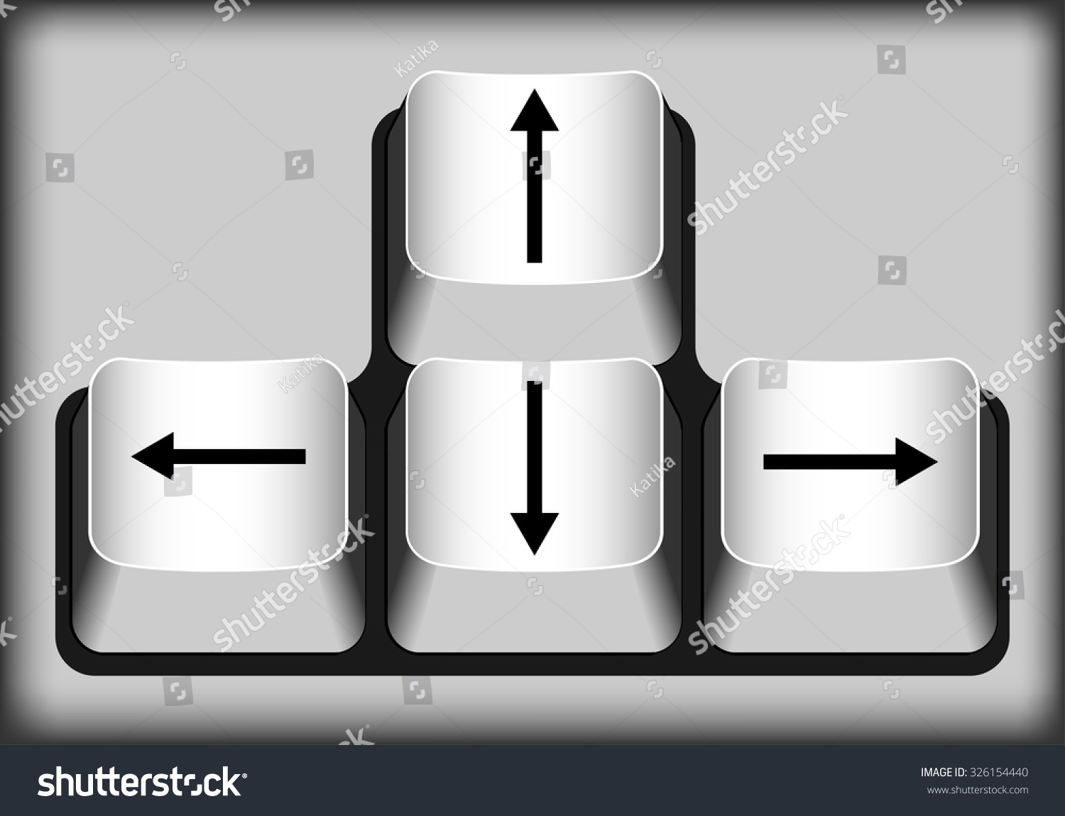 Keyboard Arrow Keys White Buttons Stock Vector Royalty Free