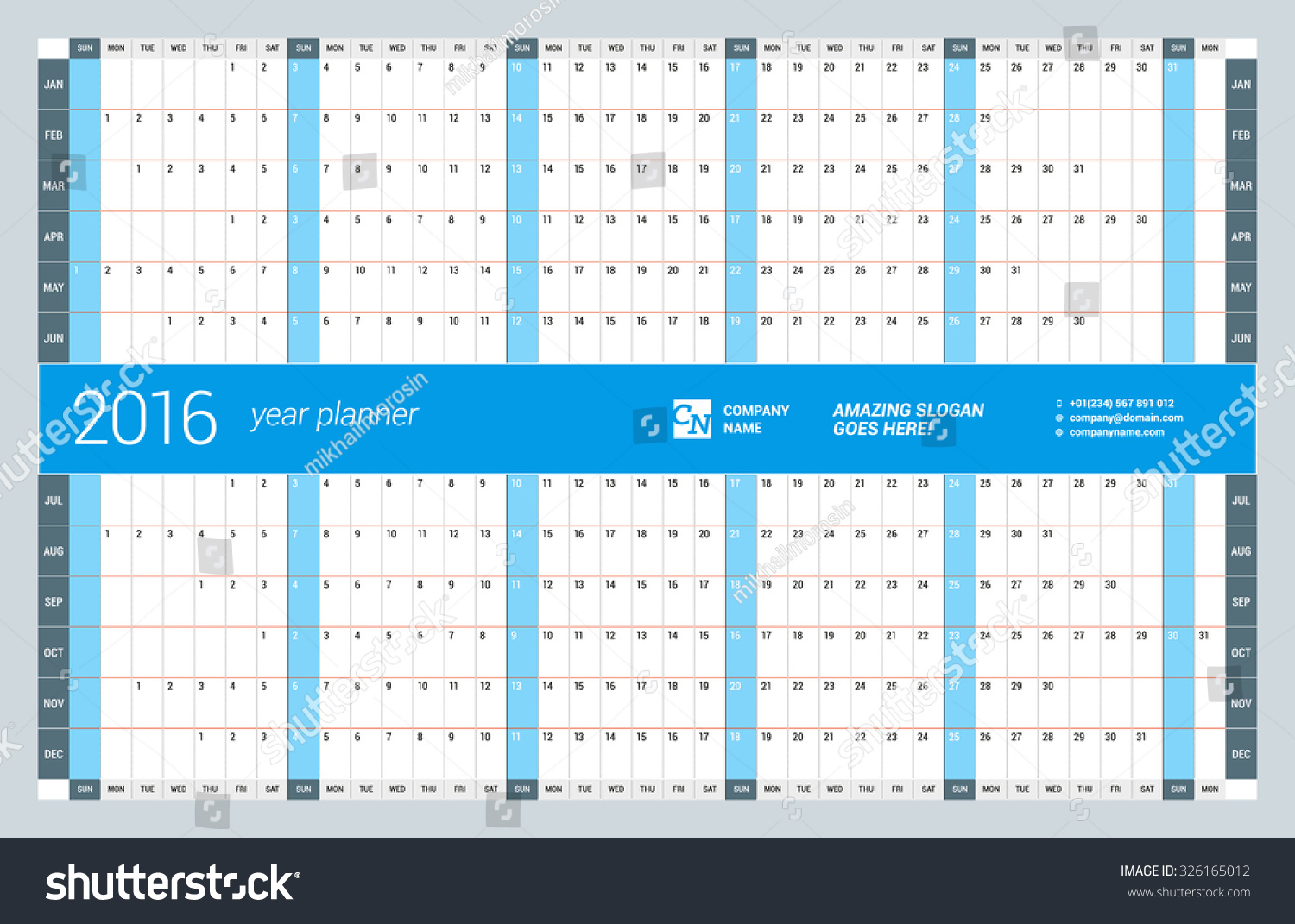 Yearly Calendar Design : Yearly wall calendar planner template stock vector