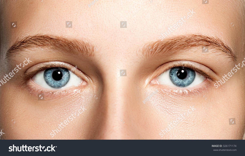 Closeup Blue Eyes Woman Without Makeup Stock Photo Edit Now