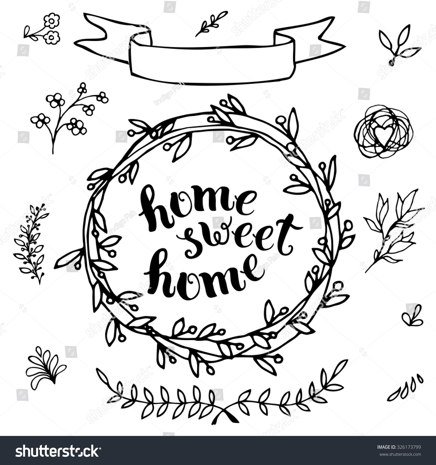 Home Sweet Home Handmade Calligraphy Vector Stock Vector