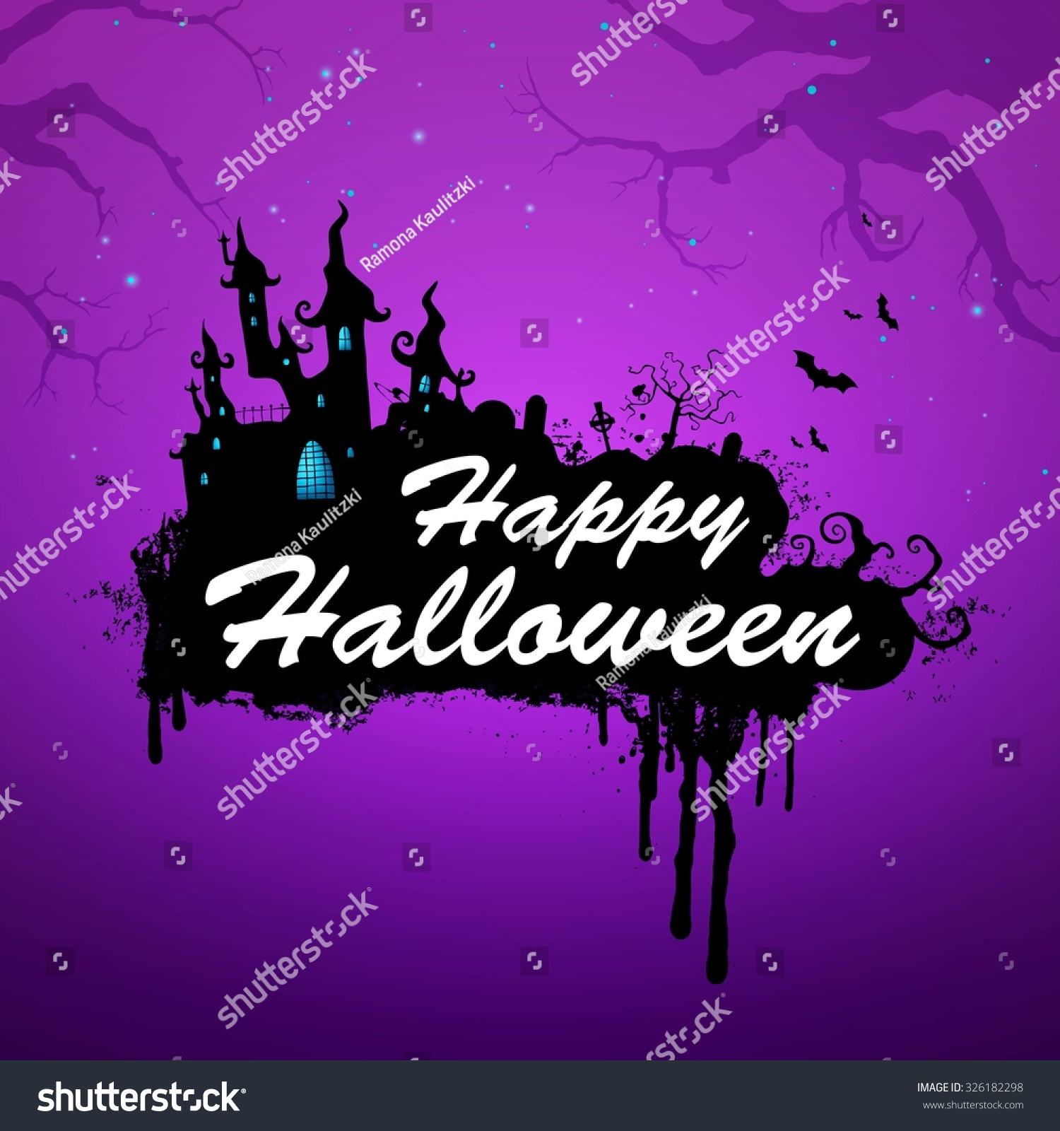 vector illustration happy halloween message design stock vector