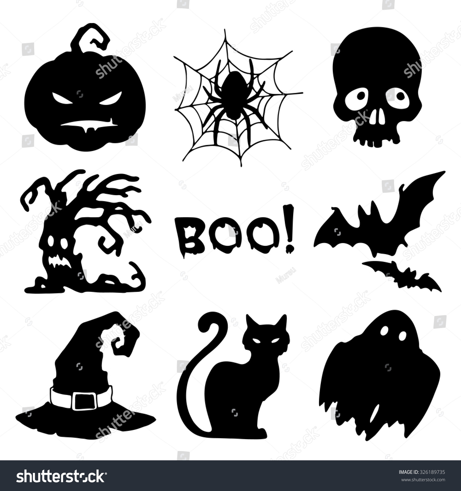 Halloween symbols set nine silhouettes on stock vector 326189735 halloween symbols set of nine silhouettes on a white background biocorpaavc Choice Image
