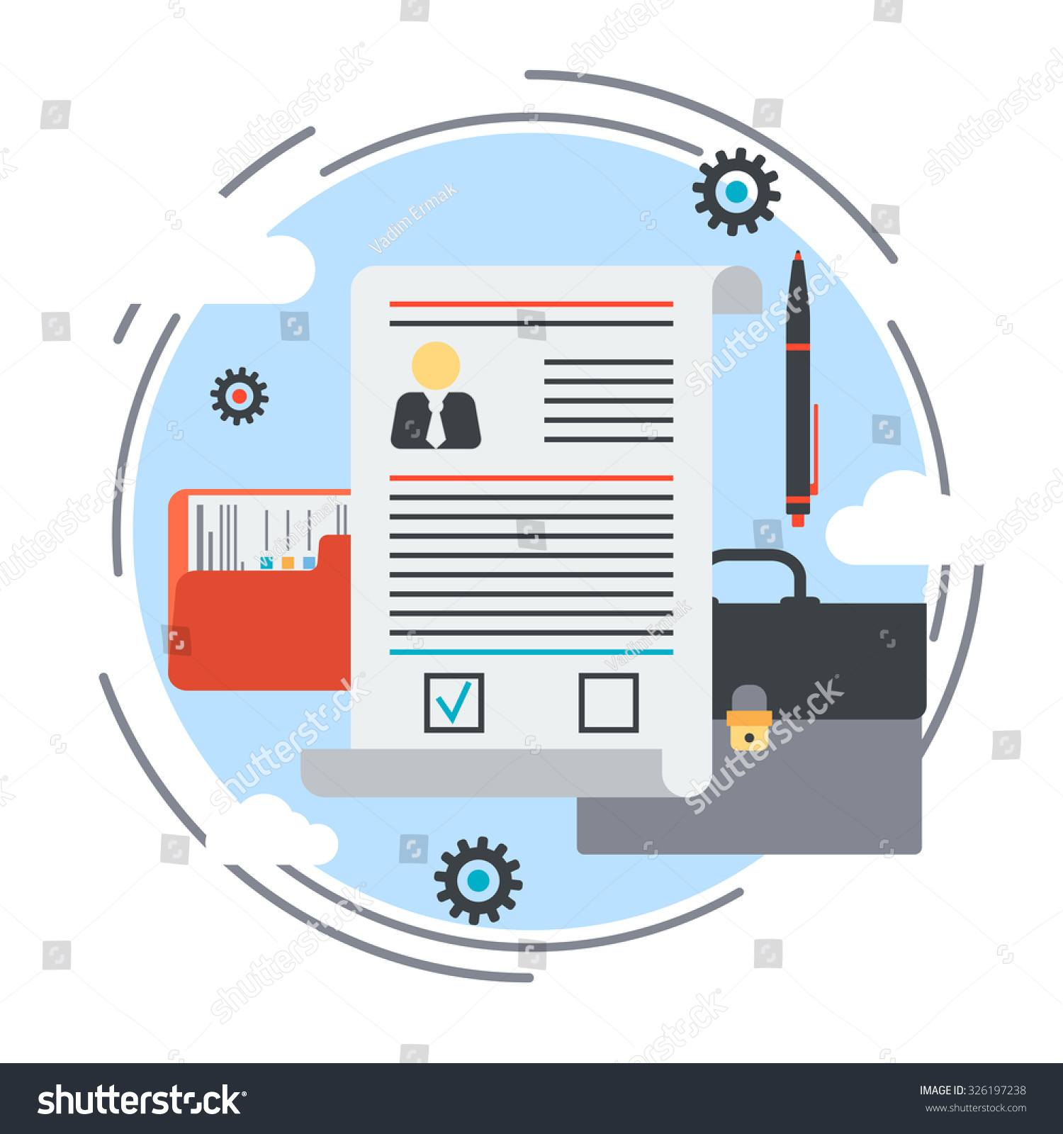 business portfolio employment issue resume job stock vector business portfolio employment issue resume job search contract conclusion flat design style