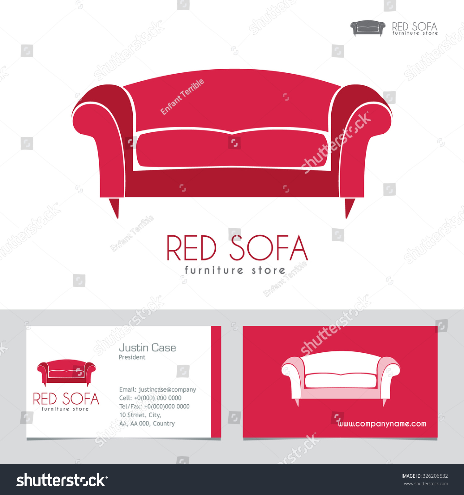Royalty free sofa business sign business card 326206532 stock sofa business sign business card vector template for furniture store home decor boutique magicingreecefo Choice Image